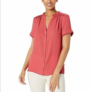 Karl Lagerfeld Button Front Top with Ruffle Detail
